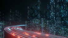 3D Rendering Of Abstract Highway Path Through Digital Binary Towers In City. Concept Of Big Data, Machine Learning, Artificial Intelligence, Hyper Loop, Virtual Reality, High Speed Network.