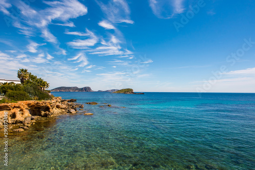 Foto auf Leinwand Khaki Es Canar Sea view with clear blue Mediterranean waters - Ibiza, Spain