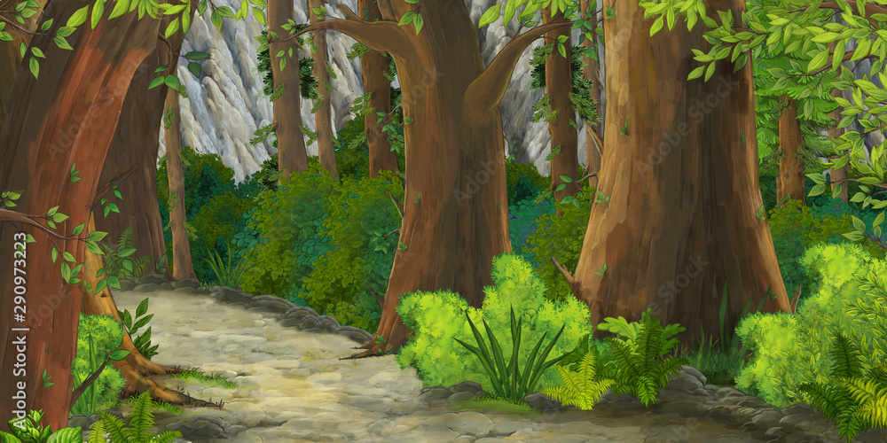 Fototapeta cartoon summer scene with path in the forest - nobody on scene - illustration for children