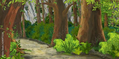 Foto auf AluDibond Dunkelbraun cartoon summer scene with path in the forest - nobody on scene - illustration for children