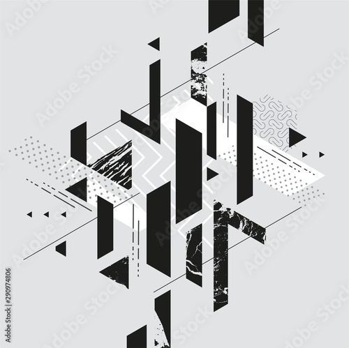 Abstract modern geometric composition	 - fototapety na wymiar