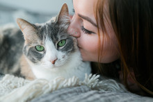 Cute Girl Cuddling With Calico...
