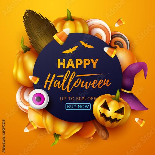 Happy Halloween background. Vector illustration. Canvas Print