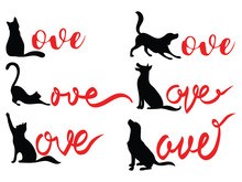 Set Of Love Lettering With Pets. Collection Of Silhouettes Of Dogs And Cats With The Inscription Love. Tattoo.