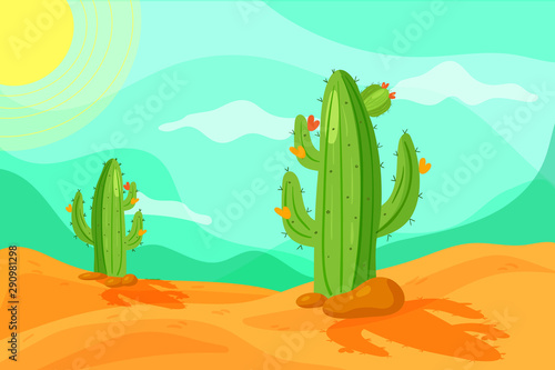 Printed kitchen splashbacks Green coral Seamless Wild West desert landscape background for game in cartoon style. Cartoon desert with cacti.