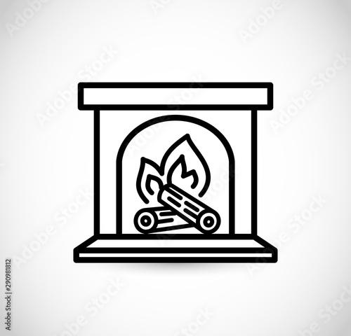 Fireplace icon vector Fototapet