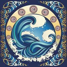 Retro Stormy Sea Poster