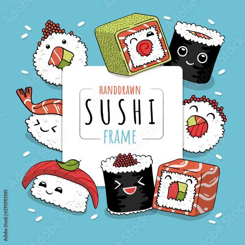 Cute cartoon rolls and sushi in kawaii style Canvas Print