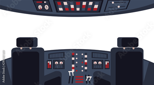 Fotografie, Tablou Pilots cockpit interior with dashboard and chairs flat vector illustration