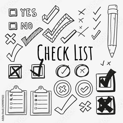 Valokuva Checkmarks and checkboxes drawn in a doodled style.