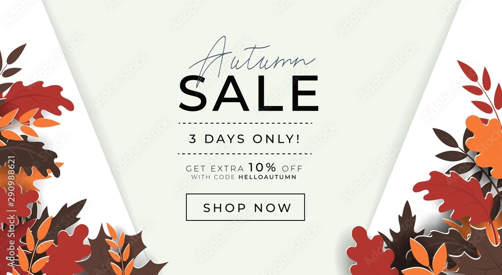Fototapeta Autumn sale promo banner with paper style leaves vector illustration. Template with profitable proposition of three days only sell-out and get shop now button flat style concept. Advertising concept
