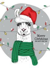 Merry Christmas And Happy New Year From Joyful Llama Vector Illustration. Joyful Alpaca Wearing Red X-mas Santa Claus Hat And Looking At Camera Congratulating Everyone. Winter Holidays Concept