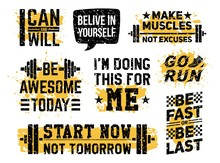 Sport Fitness And Gym Motivational Prints Set Vector Illustration. Inspiring Workout And Fit Motivation Quote Flat Style Design. Healthy Lifestyle Concept. Isolated On White Background