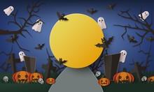 Halloween Banner Template Of Dark Night With Big Yellow Moon