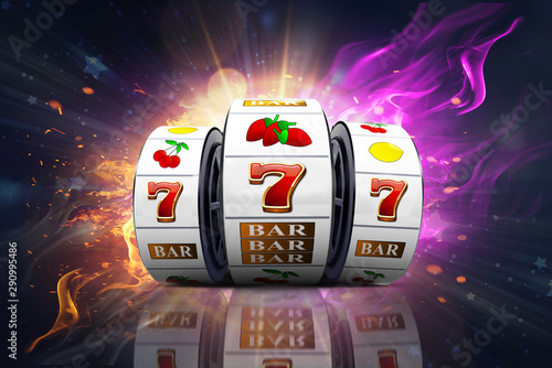 Cuadros en Lienzo Illustration, Casino element isolation of the slot machine with the lucky jackpot isolation over fire effect and abstract background