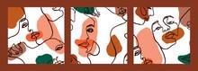 Set Of Woman's Face Minimal Li...