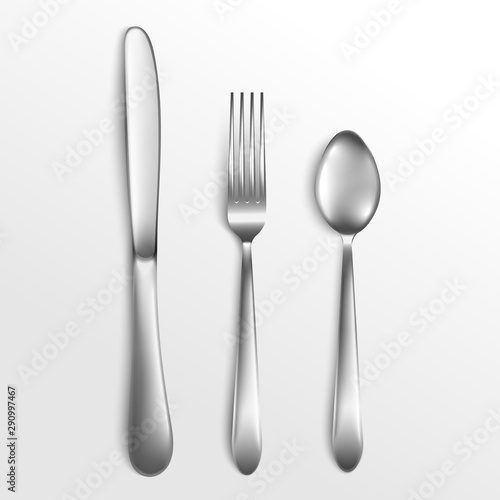 Fotomural  Knife and fork, spoon for kitchen and food, realistic vector illustration of cutlery