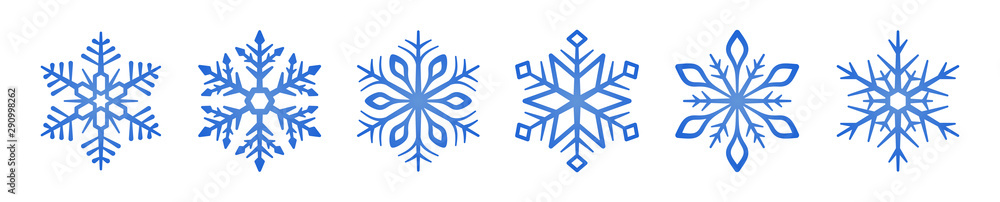 Fototapeta Set of blue Snowflakes icons. Snowflakes template. Snowflake winter. Snowflakes icons. Snowflake vector icon