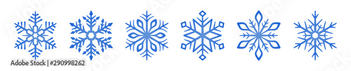 Fotografie, Obraz Set of blue Snowflakes icons