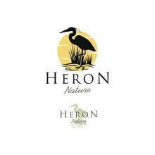 Stork Heron Silhouette Logo Design - Animal Wildlife Outdoor