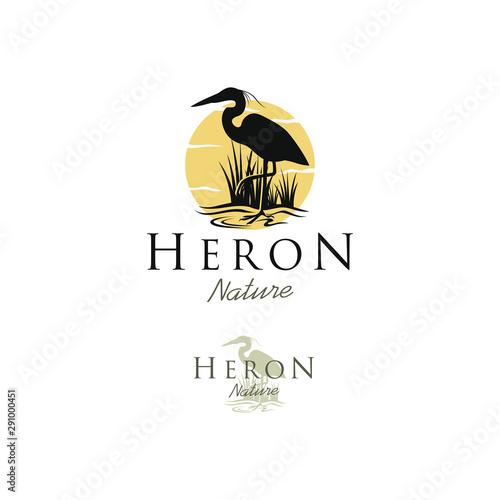 Fotografija Stork heron silhouette logo design - animal wildlife outdoor