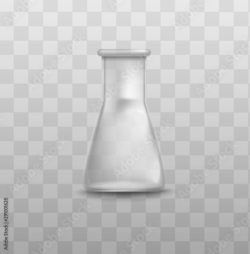 Fotografía  Short glass beaker flask with triangle shape and empty inside