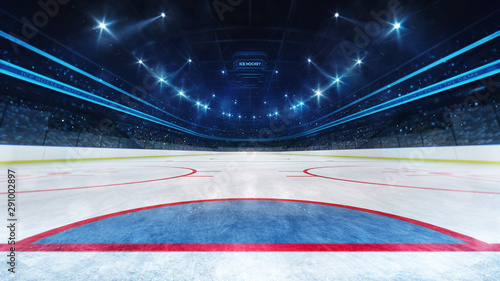 Photo  Ice hockey playground and illuminated indoor arena with fans, goal line view, pr