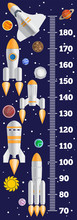 Meter Wall On A Space Theme. Vector Illustration.
