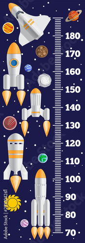 Cuadros en Lienzo  Meter wall on a space theme. Vector illustration.
