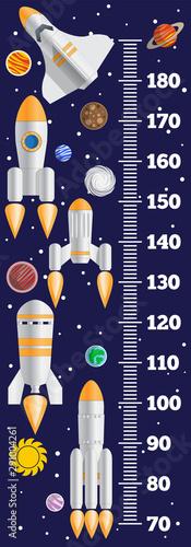 Fotografía Meter wall on a space theme. Vector illustration.