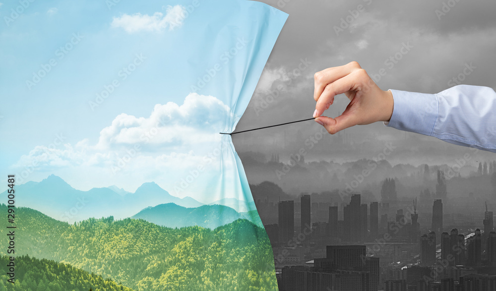 Fototapety, obrazy: hand pulling nature cityscape curtain to gray cityscape, environmental protection concept