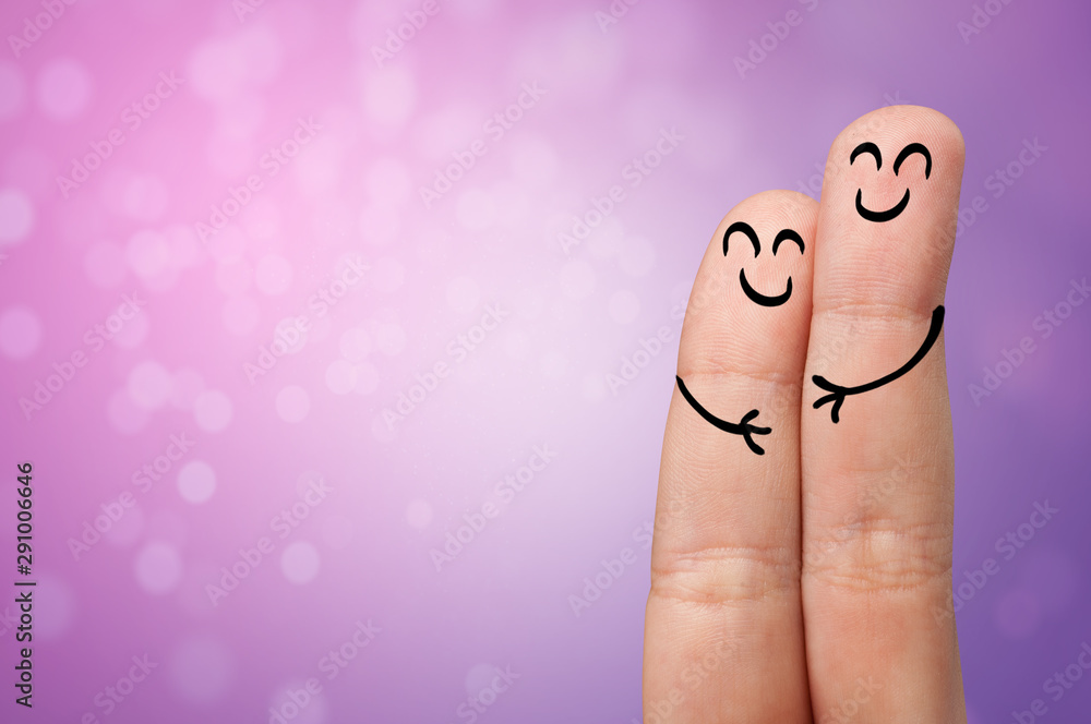 Fototapeta Joyful fingers smiling with colorful background concept