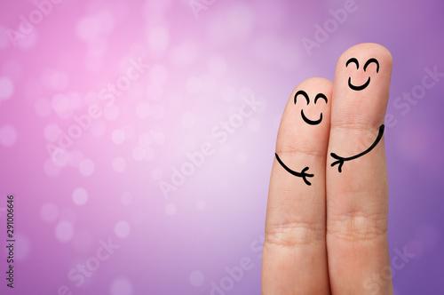 Fotografie, Obraz  Joyful fingers smiling with colorful background concept