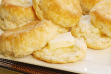 Stack Of Homemade Baked Buttermilk Southern Biscuits