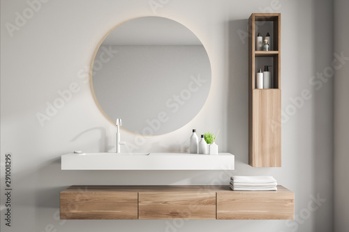 Obraz White bathroom interior with sink and mirror - fototapety do salonu