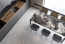 Top View Of Gray Kitchen With Marble Table