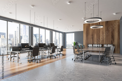 Gray and wooden panoramic office and meeting room