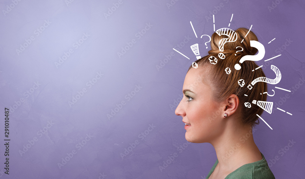 Fototapeta Head with white question marks, and copy space