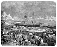 The Propeller Steamboat Germania Into The Arctic Region For The German Expedition To Greenland And The Arctic Sea Of 1869-1870, Discovering The Kaiser Franz Joseph Fjord