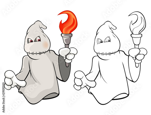 Poster Babykamer Vector Illustration of a Cute Cartoon Character Ghost for you Design and Computer Game. Coloring Book Outline Set