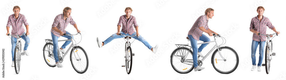 Fototapeta Collage of handsome young man with bicycle on white background