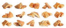 Set Of Fresh Delicious Puff Pastries On White Background