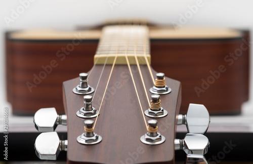 An acoustic guitar headstock on white background. Tapéta, Fotótapéta
