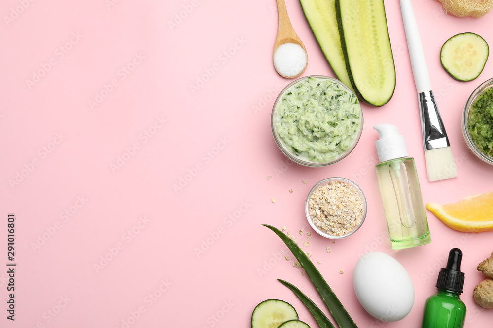 Fototapeta Flat lay composition with handmade face mask and ingredients on pink background. Space for text