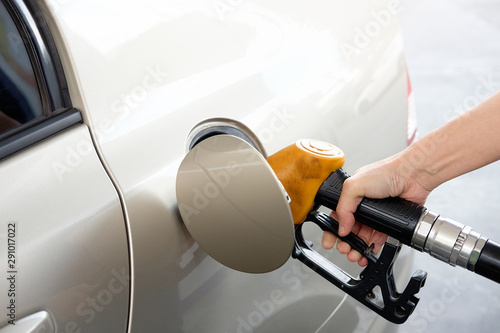 Fotomural  Hand refilling the car with fuel