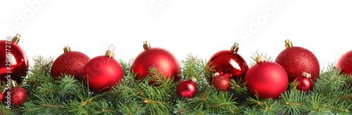 Fir tree branches with Christmas decoration on white background Obraz na płótnie