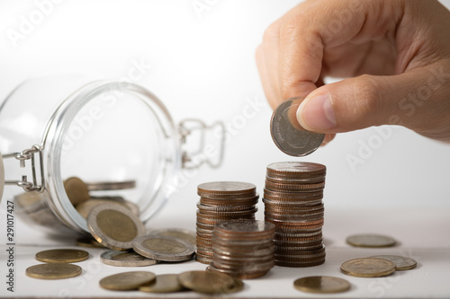 Hand stack coins,  concept for Saving money, growing business an Canvas-taulu