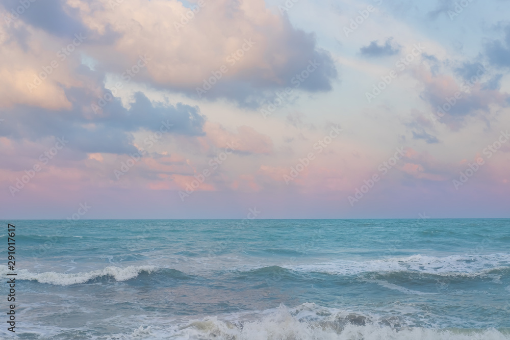 Fototapety, obrazy: Beautiful pastel sunset sky with cloudscape