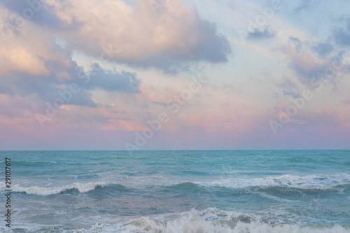 Stickers pour portes Eau Beautiful pastel sunset sky with cloudscape