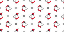 Dog Seamless Pattern Christmas Vector Santa Claus Hat Snowflake Scarf Isolated Cartoon Repeat Background Tile Wallpaper Illustration Design